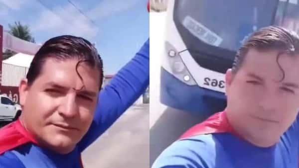 """Insólito: el Superman brasileño fue atropellado al intentar parar un colectivo con sus """"poderes"""""""