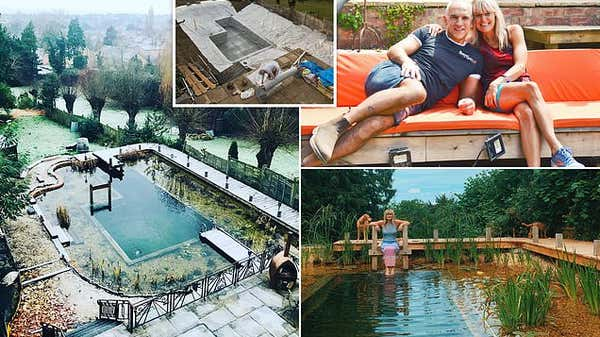 Couple spend £18,000 and two years turning their Gloucestershire garden into a natural swimming pool