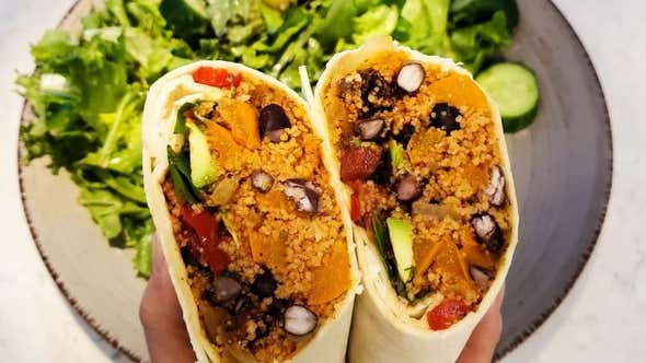 Cheap Lazy Vegan's Couscous Burrito Is the 10-Minute Solution to Lunch or Dinner