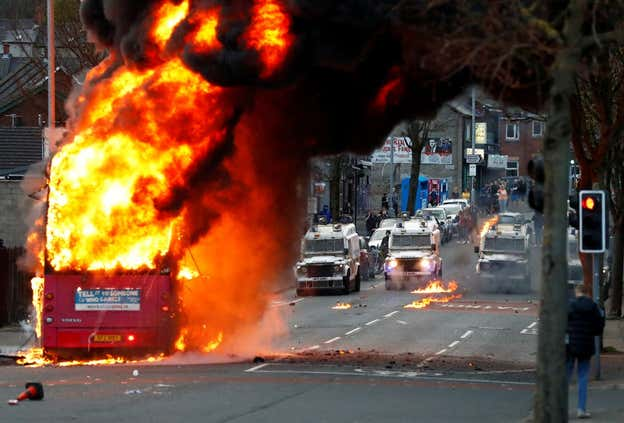 Northern Ireland riots: Bus hijacked and set on fire in Belfast