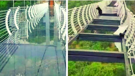 Engineering Failure: Man Trapped on 300ft-High Bridge After Glass Shatters
