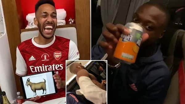 Inside Arsenal's celebrations! Jubilant Gunners players toast their FA Cup success in style